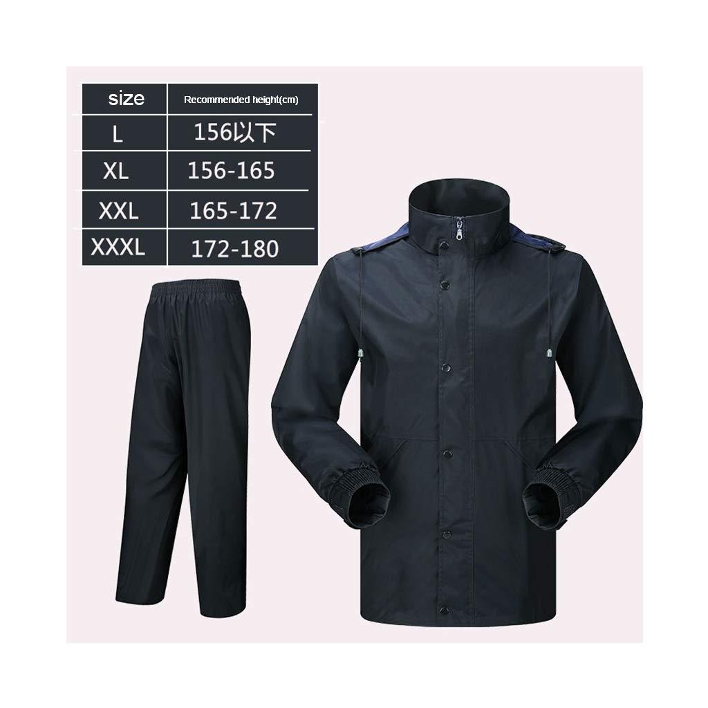 XJRHB Outdoor Raincoat Raincoat Rain Pants Suit Split Adult Waterproof Outdoor Raincoat, Multi-Size Optional (Color : Black, Size : XL) by XJRHB