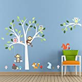 Dushang Cartoon Forest Animal Monkey Owls Fox Rabbits Hedgehog Tree Swing Nursery Wall Stickers Wall Murals DIY Posters Vinyl Removable Art Wall Decals for Kids Girls Room Decoration
