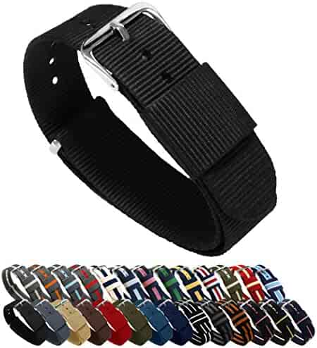 BARTON Watch Bands - Choice of Color, Length & Width (18mm, 20mm, 22mm or 24mm) - Black 20mm - Standard Length