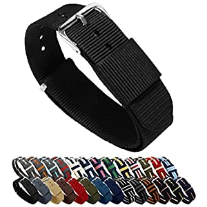 BARTON Watch Bands – Ballistic Nylon NATO Style Straps – Choice of Color, Length & Width (18mm, 20mm, 22mm or 24mm)
