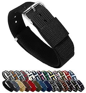 18mm Black Standard Length- BARTON Watch Bands - Ballistic Nylon NATO Style Straps