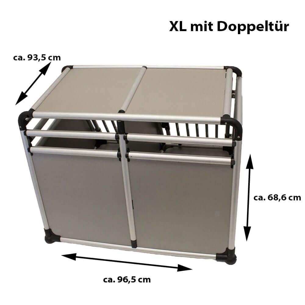Rinderohr Luxus Hundebox Alubox mit Doppelt/ür XL