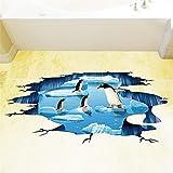 YUMULINN wallpaper stickers Wallpapers murals 3D simulation Antarctic penguin study floor tile wallpaper bathroom bathroom door creative wall stickers 3D glacier