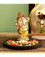 TiedRibbons Tied Ribbons Ganesh Idol Playing Bansuri with Wooden Flower Tealight Candle Colorful Stones and Wooden Base - Home Decoration Item for Home Mandir for Family and Friends
