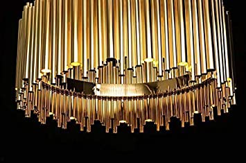 Kronleuchter Led Edelstahl ~ Riesiger bauhaus kronleuchter edelstahl gold röhren mit decken