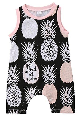 stylesilove Infant Baby Girls Pineapple Pattern Sleeveless Romper (70/3-6 Months) Brown