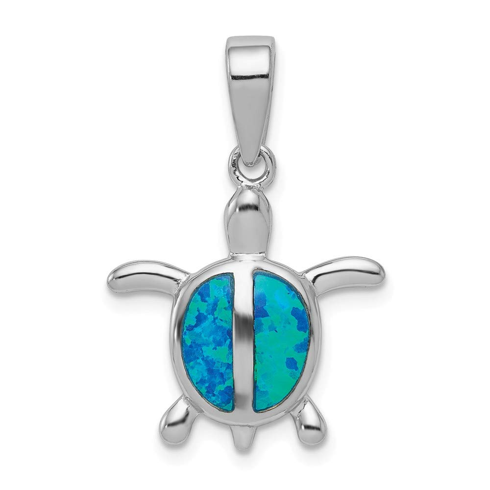 FB Jewels Solid 925 Sterling Silver Rhodium Created Blue Opal Turtle Pendant