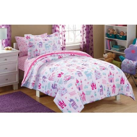 Girls Twin 5 Piece Princess Castle Pony Flower Comforter Sheet Set