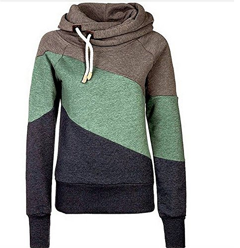 Price comparison product image Ussuperstar Women's Funnel Neck Colorblock Casual Pullover Sweatshirts (XL,  C)
