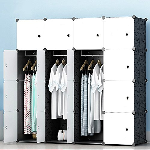 MEGAFUTURE Modern Portable Closet for Hanging Clothes, Combination Armoire, Modular Cabinet for Space Saving, Ideal Storage Organizer (16 Cubes&3 Hangers)