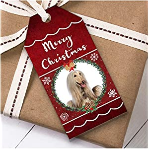 Afghan Hound Dog Christmas Gift Tags (Present Favor Labels) 22