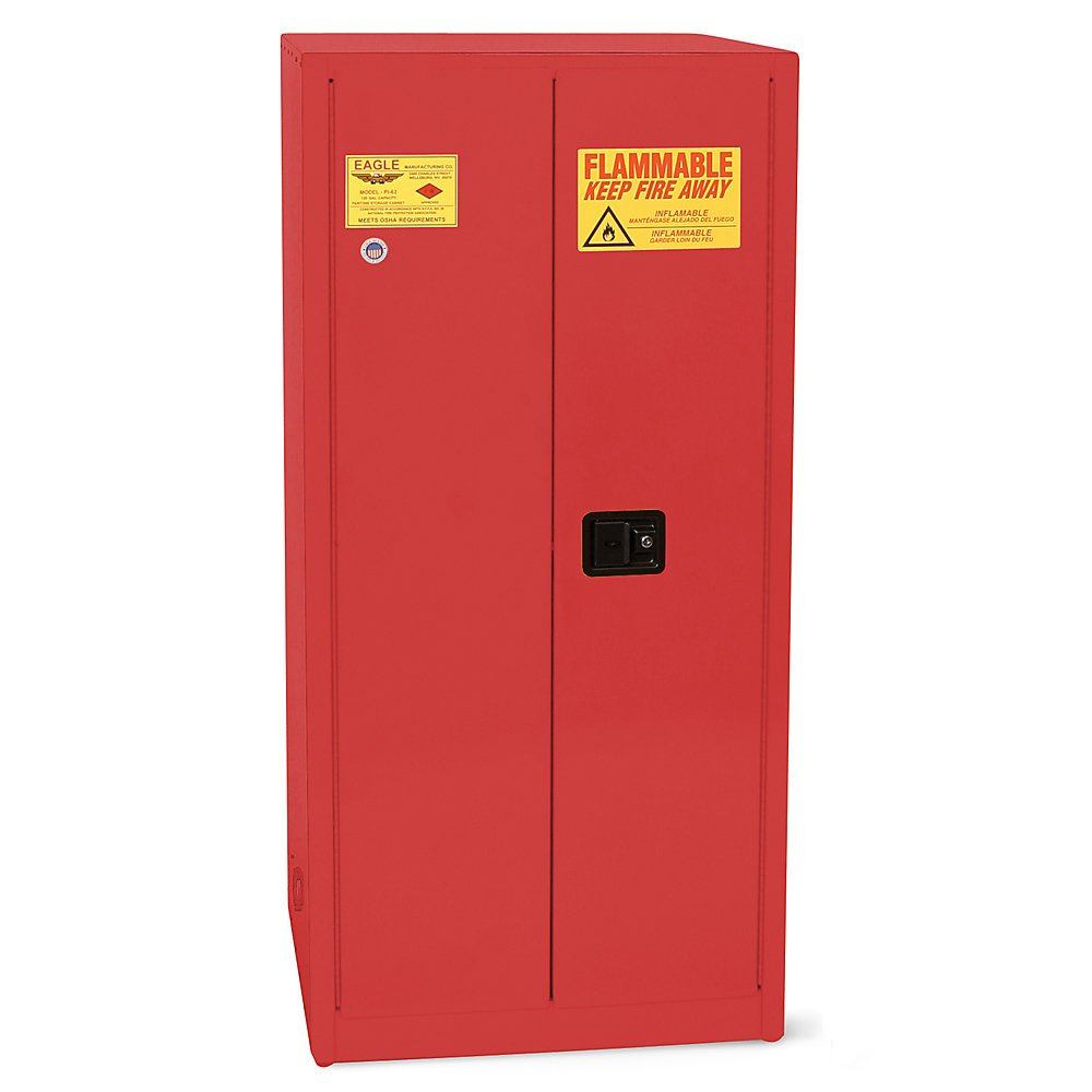 Eagle Paints, Inks, And Class Iii Combustibles Safety Cabinet - 31-1/4 X31-1/4 X65'' - 96-Gallon Capacity - Self-Closing Door - Red