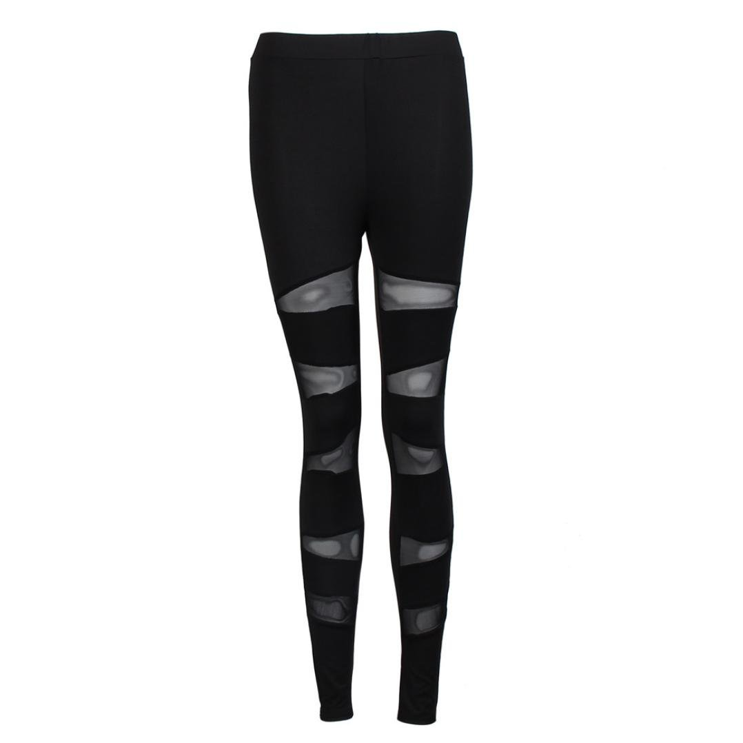 108a31297b3da Amazon.com: Women Thick Skinny Fitness Leggings Mesh Cross Patchwork Stretch  Athletic Trouser Gym Yoga Pants (M, Black): Beauty