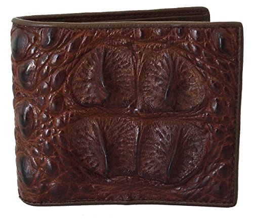 Authentic River Crocodile Skin Men's Bifold Big Head Leather Dark Brown (Exotic Skin Wallets)