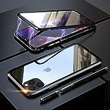 YSAN iPhone11ProMax ケース アルミバンパー 両面ガラス 360度全面保護 クリアフルカバー 表裏磁石 耐衝撃 マグネット式 人気 薄型 Qi充電対応 (iPhone11 Pro Max, ブラック)