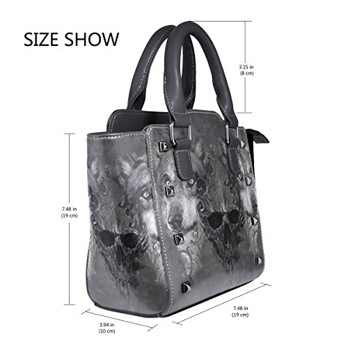 Shoulder Handbags Scary Bags Skull Women's Leather TIZORAX Tote Wolf gH0xq