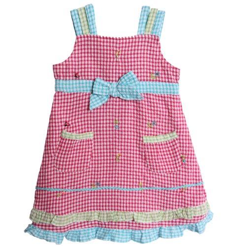 BT Kids Baby Girls' 1 Piece Pink Blue Seersucker Sundress Dress Petticoat