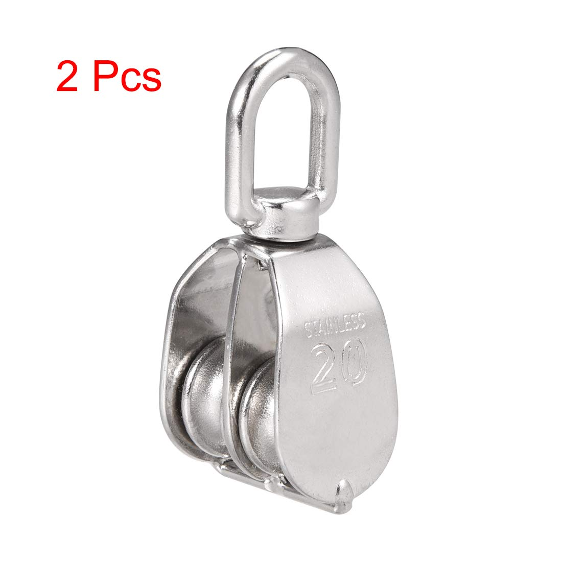uxcell 2pcs M20 Lifting Crane Swivel Hook Double Pulley Block Hanging Wire Towing Wheel 304 Stainless Steel
