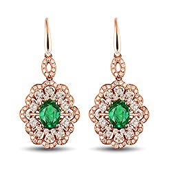 Rose Gold Diamond Emerald Earrings