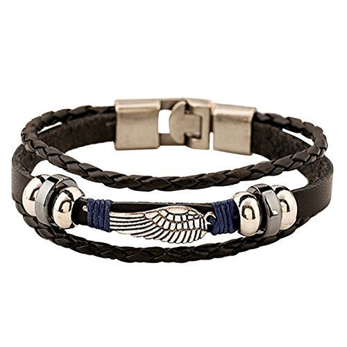 """EAGLE Wing Wire Wrapped Vintage Genuine Leather 3 Strand Unisex Bracelet 8.2"""" Alloy Clasp Hematite Stunning Wristband Fashion Cuff for Men Women, Stylish 3-Tier Comfort Fit Band --- 60-Day Guarantee"""