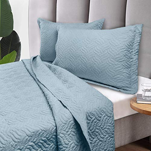 Tempcore Quilt Set Coverlet Full/Queen Size Light Blue 3 Piece, Hypoallergenic Microfiber Lightweight Soft Bedspread for All Season,Full/Queen Light Blue,(1 Quilt,2 Shams)