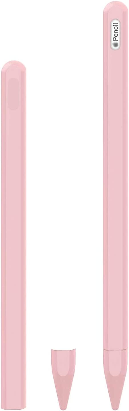 KELIFANG Silicone Case Compatible New Apple Pencil 2nd Generation, Protective Holder Sleeve and Nib Cover Compatible New Pro 11, 12.9 inches 2020 Apple Pencil 2 Gen (Pink)