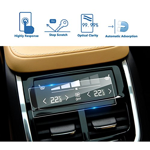 LFOTPP 2016-2017 Volvo XC60 V90 XC90 Rear Climate Display Control Touch Screen Protector, Clear Tempered Glass Screen Protector Against Scratch High Clarity