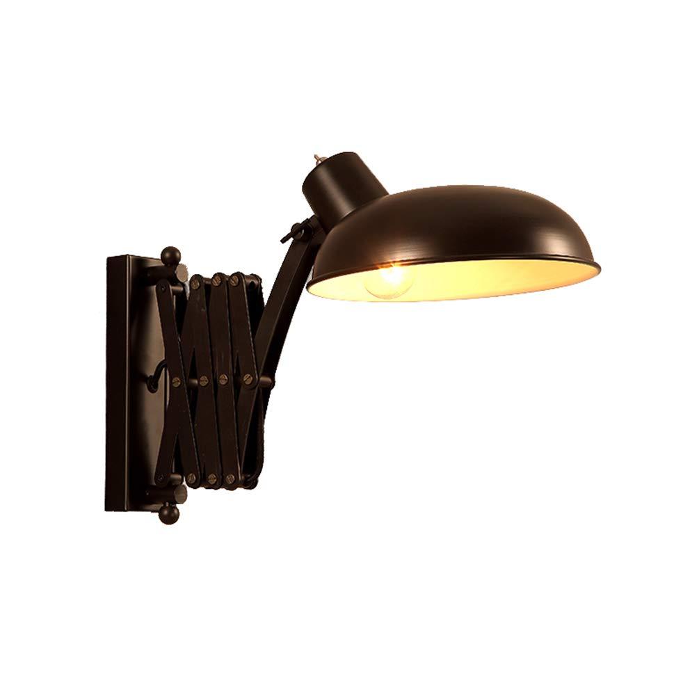 Wandleuchte Industrial Verstellbare Flexible Wandlampe Leselampe Vintage Wandleuchte aus Schwarz Metall Ausziehbar Retro Innen Wandlampe E27 für Schlafzimmer Bett Wohnzimmer Arbeitszimmer