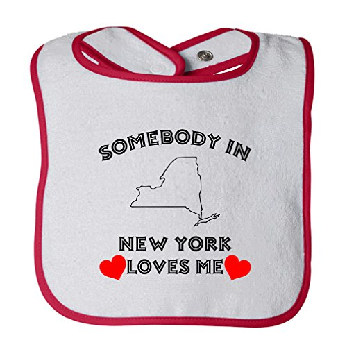 (Cute Rascals Somebody In New York Loves Me Tot Contrast Trim Terry Bib White/Red)