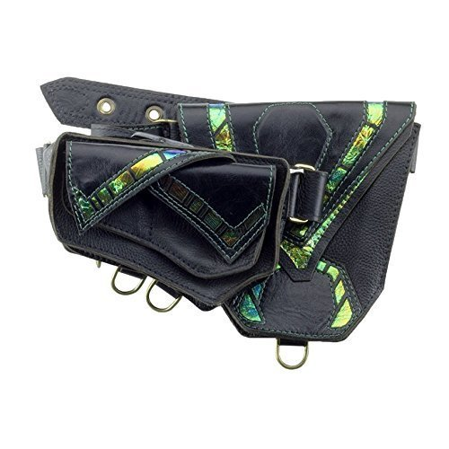 Leather Utility Belt with Pockets ''Chimera'' in Dragonfly Green - Hip Bag - Fanny Pack by Subverse