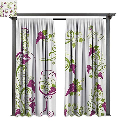 bybyhome Home Patio Outdoor Curtain Wine Wine Bottle and Glass Grapevines Lettering with Swirled Branches Lines W120 xL96 Suitable for Front Porch,pergola,Cabana,Covered Patio
