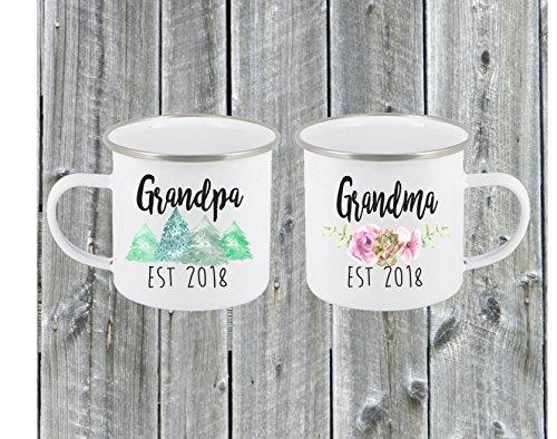 Custom Grandma & Grandpa Coffee Mug Set Established Year Baby Pregnancy Announcement Birthday Gift Tea Cup White 10 oz -