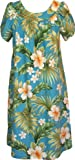 RJC Womens Full Bloom Tropical Muumuu Tea Length Dress BLUE Q2X