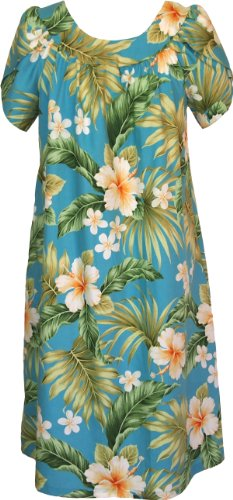 RJC Womens Full Bloom Tropical Muumuu Tea Length Dress BLUE Q2X by RJC