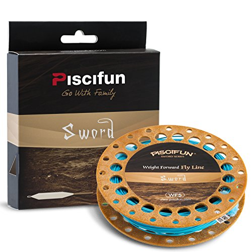 Piscifun Sword Weight Forward Floating Fly Fishing Line with Welded Loop WF4wt 90FT Sky Blue
