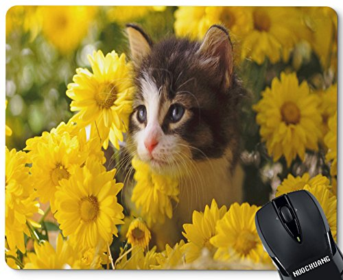 NUOCHUANG Rectangular Cute Custom Cat Flower Natural Rubber Gaming Mouse Pad (Cat Rectangular)