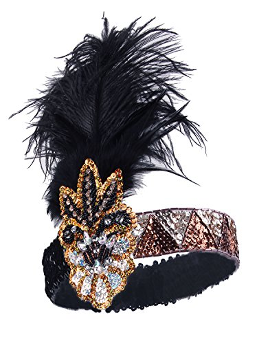 Vijiv Vintage 1920s Flapper Headband 20s Headpiece Flapper Costumes Accessories (Homemade Christmas Costume Ideas Men)