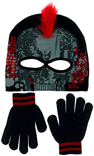 [Polar Wear Boys Monster Mohawk Skull Face Eye Holes Knit Beanie & Gloves Set (Crimson Red)] (Infant Racing Halloween Costume)