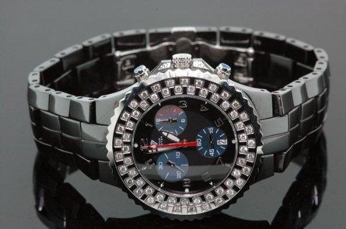 Aqua Master Unisex Black Ceramic Diamond Watch by Aqua Master