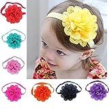 Clearance! 8Pcs Baby Girl Stretchy Headband Lovely Flower Hair Band Newborn Hair Accessories (A)