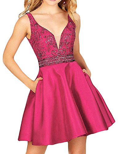 A-line Sequin - QSYE Women's a Line Satin Homecoming Dresses With Beadings Short V Neck Prom Party Gowns H014 Fuchsia 2