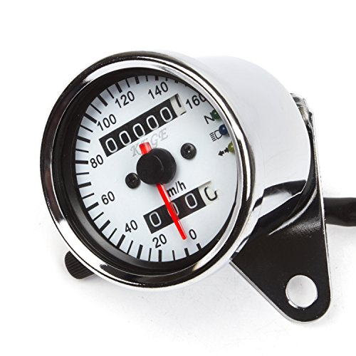 Universal Dual Odometer Speedometer Gauge Meter Double Mileage Meter Night Light for Motorcycles ATV Scooter Easy Install
