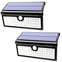 Lalapao Solar Lights 58 LED 2 Pack Wireless Motion Sensor Wall Lights Outdoor Lighting Solar Powered Security Night Light Waterproof for Patio Deck Yard Garden Backyard Driveway Garage Porch