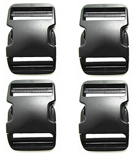 (Plastic Buckles 2 Inch (Pack of 4)- Quick Side Release for Luggage Straps, Pet Collar, Backpack Repairing - Dual Adjustable Ends, Black, by Beaulegan)