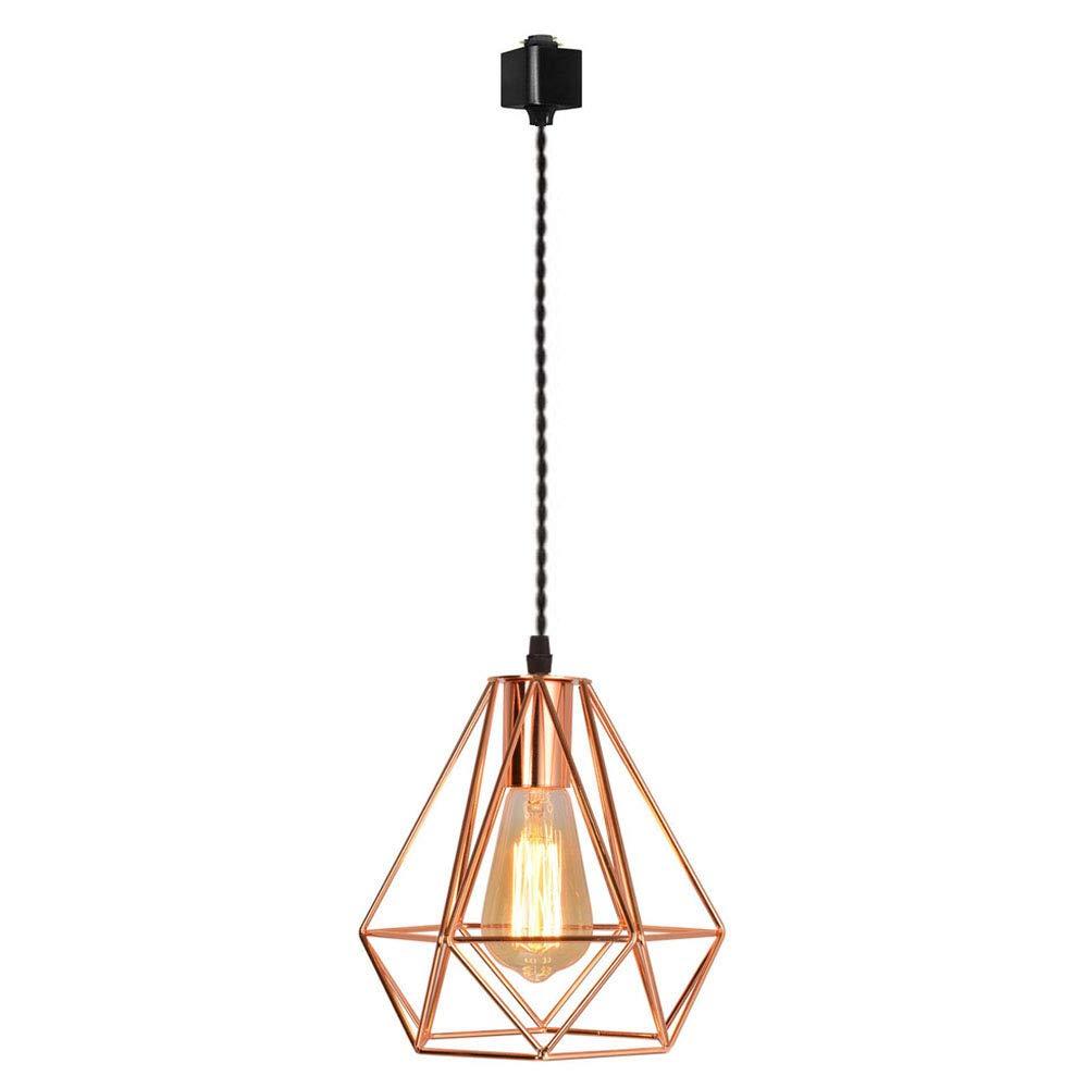 H-Sries Track Mounted Lighting Pendant Light Kit Copper Caged Hanging Pendant Lamp,Single