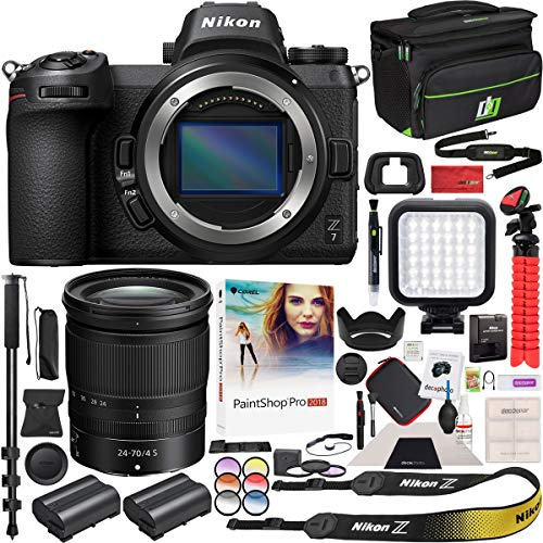 Nikon Z7 Mirrorless Camera Body FX-Format Full-Frame 4K Ultra HD with NIKKOR Z 24-70mm f/4 S Lens Kit and Deco Gear Travel Gadget Bag Case with Extra Battery & Accessory Kit Editing Software Bundle