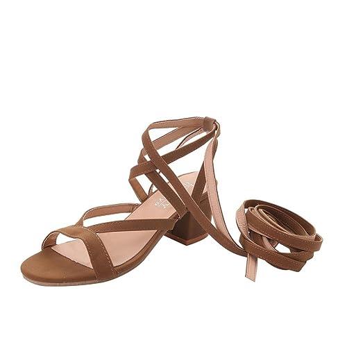 Sandalias de vestir, SHOBDW Zapatos mujer plataforma esparto bajos Zapatillas Talones (35, Marrón