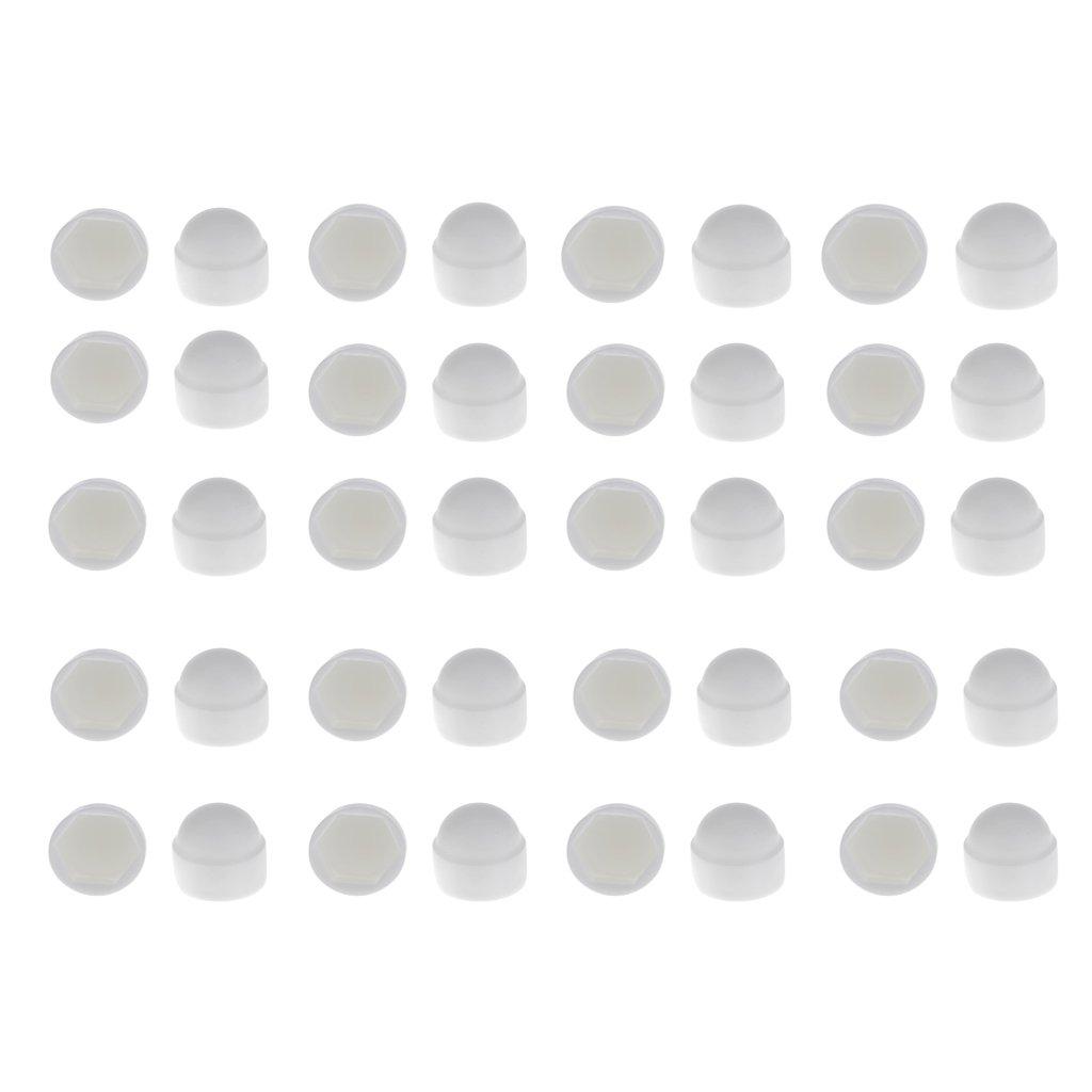 MagiDeal 10pz M8 + 10pz M6 Bianco Cupola Dado Bullone Protezioni Coperchio Viti Esagonali