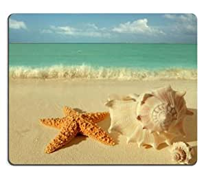 Starfish Conch Shell Island Beach Mouse Pads Customized Made to Order Support Ready 9 7/8 Inch (250mm) X 7 7/8 Inch (200mm) X 1/16 Inch (2mm) High Quality Eco Friendly Cloth with Neoprene Rubber Luxlady Mouse Pad Desktop Mousepad Laptop Mousepads Comfortable Computer Mouse Mat Cute Gaming Mouse pad