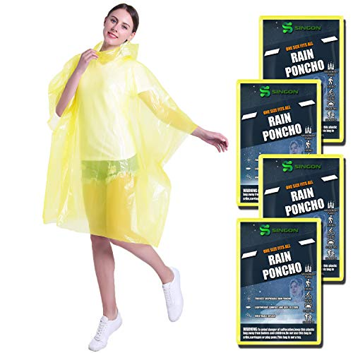 SINGON Disposable Rain Ponchos for Adults (4 Pack) - 60% Extra Thicker Men or Women Waterproof Emergency Rain Ponchos with Hood - Lightweight Universal Design - Yellow